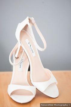 Wedding shoes ideas - open toe, heels, white, straps {TamaraMAZ Photography}