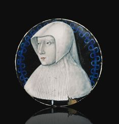 Attributed to Léonard Limosin (circa 1505-1575) French, Limoges, circa 1530-1540 ROUNDEL WITH A PORTRAIT OF A NOBLEWOMAN, PROBABLY LOUISE OF SAVOY, OR MARGUERITE OF ANGOULÈME, QUEEN OF NAVARRE, AND WITH THE ADORATION OF THE VIRGIN AND CHILD ON THE REVERSE