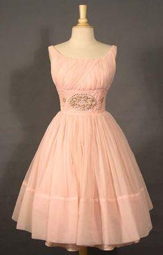 FAB Pink Chiffon Party Dress w/ Floral Appliqued Waist VINTAGEOUS VINTAGE CLOTHING