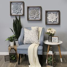 Bring farmhouse-inspired glamour to your space with Stratton Home Décor's Metal Flower Square Framed Wall Art. Finished with a rustic wooden frame, this unique wall decor features a lovely metal floral design. Decor, Metal Wall Decor, Wall Decor Living Room, Frames On Wall, Home Decor Online, Home Decor, Stratton Home Decor, Metal Flower Wall Decor, Flower Wall Decor