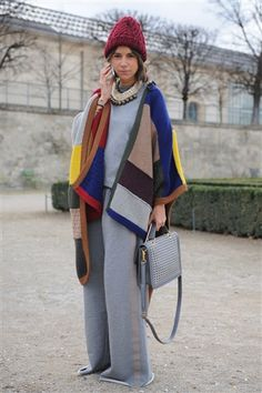 heather grey sweatshirt dress, or 3/4 sleeve sweatshirt and wool trousers, with vintage grey ball necklace, Hayhden Harnett grey bag, Fluevog grey ankle boots, giant multi-striped wool scarf