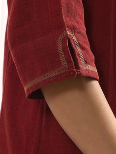 Buy Maroon SURKH Handloom Cotton Kurta with Embroidery Women Kurtas Rang Raas Add a splash of color to your wardrobe vibrant Neck Designs For Suits, Sleeves Designs For Dresses, Neckline Designs, Dress Neck Designs, Blouse Designs, Sleeve Designs For Kurtis, Kurti Sleeves Design, Kurta Neck Design, Simple Kurti Designs