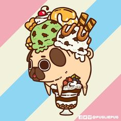 The official Puglie Pug website and store! Cute Kawaii Drawings, Kawaii Doodles, Cute Doodles, Cute Animal Drawings, Pug Kawaii, Cute Kawaii Animals, Kawaii Art, Pug Wallpaper, Kawaii Wallpaper