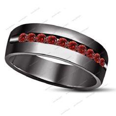 1.00Ct Round Red Garnet 14K Black Gold Finish 925 Silver Men's Wedding Band Ring #aonedesigns #MensWeddingBandRing #EngagementWeddingAnniversaryPromiseValentines