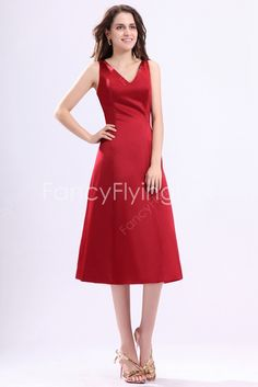 fancyflyingfox.com Offers High Quality Formal V-Neckline A-line Tea Length Red Junior Bridesmaid Dresses ,Priced At Only US$158.00 (Free Shipping)