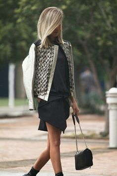 metallic detailed leather moto...love this blonde cut too