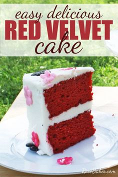 This Red Velvet Cake Mix recipe with cream cheese buttercream is cake mix based but doctored up to taste like it came straight out of a bakery! It's easy, delicious and beautiful.  #redvelvet #redvelvetcake #cakemix #cake