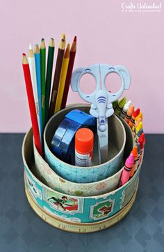 DIY-school-supplies-caddy-Crafts-Unleashed-1 ~ I like this idea! I would push everything together on one side perhaps. Great reuse for tins, kitchen cans, boxes, etc!