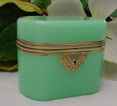 """I love these, but they are super pricey. Antique French Green Opaline Casket """"OVAL"""" from worldrarities on Ruby Lane"""