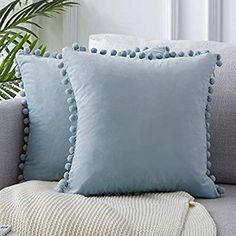 Amazon.com: Top Finel Decorative Throw Pillow Covers 20 x 20 Inch Soft Particles Velvet Solid Cushion Covers with Pom-poms for Couch Bedroom Car 50 x 50 cm, Pack of 2, Light Blue: Home & Kitchen