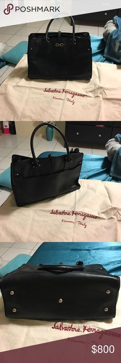 Tote bag Salvatore Ferragamo tote black used with original dust bag , the leather is still very good on this bag was taken care of has a little damage on actual handle and some minor scratches on leather. Salvatore Ferragamo Bags Totes