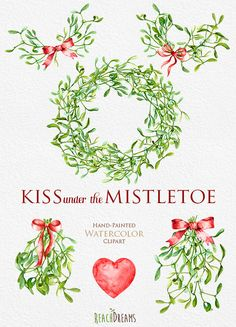 Christmas Mistletoe Watercolor clipart Wreath and by ReachDreams