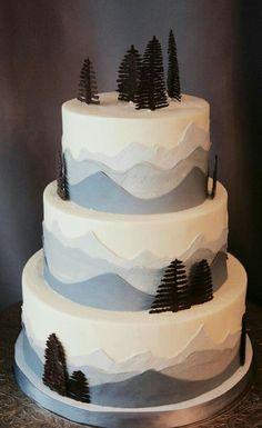 Space Mountain Wedding Cake - Wedding Cake : Bridal And Wedding Jewelry Themed Wedding Cakes, Themed Cakes, Gorgeous Cakes, Pretty Cakes, Mountain Cake, Forest Cake, Tree Forest, Wedding Cake Prices, Shower Bebe