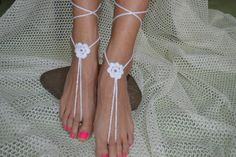 Crochet Ivory Barefoot Sandals, Nude shoes, Foot jewelry, Wedding, Victorian Lace, Sexy, Yoga, Anklet , Bellydance, Steampunk, Beach Pool  They can be worn barefoot or with shoes.   One size fits...