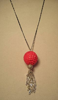 Handcrafted Bright Pink Crochet covered Bead & Chain Tassel