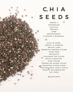 Chia Seeds is a great super food with lots of health benefits. Great to use in smoothies, drinks, muffins and as a thickener Chia Benefits, Health Benefits, Antioxidant Vitamins, Reduce Inflammation, Chia Seeds, Vitamins And Minerals, Superfoods, Healthy Hair, Nutrition