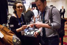 GanderTV reps exchanging business cards #NMS2013