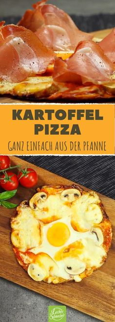Potato pie from the pan - a delicious pizza recipe .- Kartoffelpizza aus der Pfanne – ein köstliches Pizza Rezept mit Käse und Sch… Potato from the pan – a delicious pizza recipe with cheese and ham - White Pizza Recipes, Cheese Recipes, Veggie Recipes, Healthy Recipes, Pancake Healthy, Best Pancake Recipe, Potato Pancakes, Potato Pie, Fancy Pizza