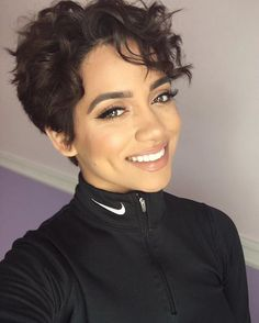 Hairstyles for Short Curly Hair Curly-Pixie-Cut Hairstyles for Short Curly Hair Short Curly Pixie, Short Curly Hairstyles For Women, Haircuts For Curly Hair, Curly Hair Cuts, Short Hair Cuts, Cool Hairstyles, Hairstyles 2018, Wavy Pixie Haircut, Trendy Haircuts