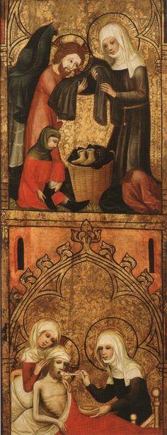 Elisabethaltar (Fragment): Elisabeth kleidet Arme und pflegt Kranke, um 1385, im Wallraf-Richartz-Museum in Köln