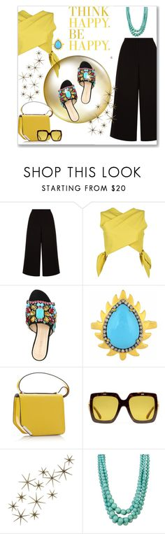 """Slides"" by kimzarad1 ❤ liked on Polyvore featuring MSGM, GEDEBE, Meghna Jewels, Gucci, Global Views and Cara Accessories"
