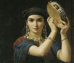 """""""She's dancing to the beat of her own drum""""  Artist: Charles-Émile-Hippolyte Lecomte-Vernet (French, 1821–1900) The Tambourine Player"""