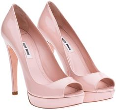 Miu Miu Peep-Toes    $645 - miumiu.com  Patent leather open-toe platform pump. Leather sole. Heel: 120 mm.