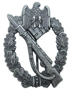 Premium German Infantry Antique Silver Assault Badge, with correct pin back, a very nice mid war combat award.  These badges were originally issued from 1939 onwards, and was awarded to soldiers of both the Waffen-SS and the Wehrmacht Heer.  This is the Silver Class version, which was awarded to the following: •Soldiers who had participated in 3 or more infantry assaults, or counter attacks. •Soldiers who had engaged in hand-to-hand combat in an assault position.