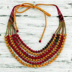 Red and Yellow Recycled Silk Sari Beaded Necklace - Scarlet