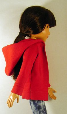 Best Friends Club Ink Sewing Patterns  Hoodie Jacket pattern   Make by hand, machine and/or serger! Sew fun. Great stocking stuffer. Made in red = perfect for Christmas.