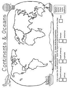 Mapa De Los Continentes blanco y negro