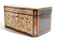 Stunning Antique Boulle Cut Brass Tea Caddy c.1860  // - Maria Elena Garcia -  ► www.pinterest.com/megardel/ ◀︎