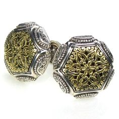 Evangelatos Gold and Silver Cushion Cuff Links, 18k Gold and Sterling Silver. Athena's Treasures: http://www.athenas-treasures.com/