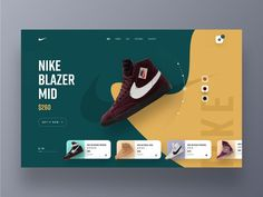 Nike Website Design shoe shop website design webdesign web ux uxdesign uidesign ui sportswear trainer shop sneakers shop product website hiwow nike lifestyle landing page footwear ecommerce cart 2019 trends Webdesign Inspiration, Web Inspiration, Design Web, Web Banner Design, Flat Design, Logo Design, Web Layout, Layout Design, Website Layout