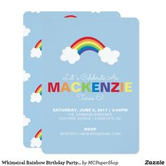 Whimsical Rainbow Birthday Party Invitation Set the tone for a magical, colorful birthday party with this whimsical rainbow birthday party invitation. Featuring an illustrated rainbow accompanied by two fluffy clouds. The rainbow theme is continued in the birthday kid's name by using rainbow letters. The backside of each invitation features a fun rainbow pattern.