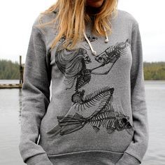 Skeleton Mermaid Grey Pullover Hoodie. $79.00, via Etsy.