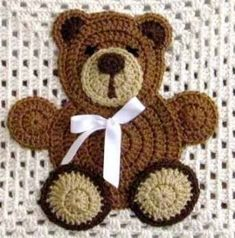 61 Ideas baby blanket applique teddy bears for 2019 crochetteddybears - tiger club Knitted Teddy Bear, Crochet Teddy, Crochet Toys, Teddy Bears, Baby Bears, Crochet Applique Patterns Free, Crochet Motifs, Crochet Appliques, Free Pattern