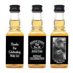 Custom Jack Daniels bouteille Mini étiquettes anniversaire faveurs gars adultes Mens 30e anniversaire célébration Merci sur les dons de whis...