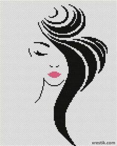 Стильная девушка №4 Люди Монохром  Схема для вышивки scheme for cross stitch