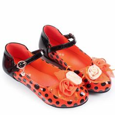 Cute Tangerine Polka Dot Girls Pageant Holiday Party Dress Shoes SKU-133471