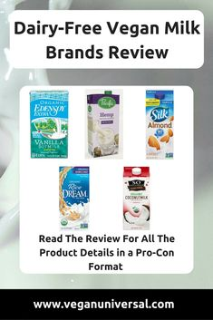 Dairy-Free Vegan Milk Brands Review and Comparison #veganmilk #veganreviews #nondairymilk #dairyfree Vegan Milk, Soy Milk, Vegan Food, Milk Brands, Best Brand, Plant Based, Dairy Free, Vegan Recipes, Vegan Products