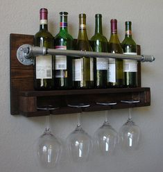 Industrial Rustic Modern 6 Bottle Wall Mount Wine Rack with 4 Glass Slot Holder on Etsy, $95.00