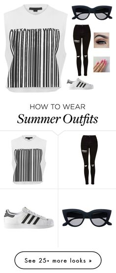 """Summer Outfit"" by breckenboelter on Polyvore featuring Alexander Wang, adidas and Topshop"