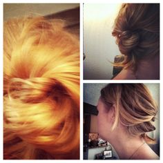 Easy updo: loosely gather hair at nape of neck. Separate into three sections. Braid normally for one knuckle, then switch into a rope braid for the remainder of the braid. Coil loosely and secure with bobby pins. This only took me two minutes because I have fine, shoulder-length hair. It was very easy! Very soft and pretty, very low-maintenance. Ideal for everyday or going out! So versatile!