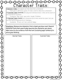Character Traits Worksheet Printable | Teaching Ideas/Teaching ...