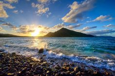 Looking northwest at sunset from the beautiful Sandy Bank Bay in St Kitts. by christopheharbour