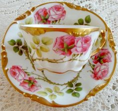 This mark was used in 1906 by the Pouyat (JPL) Limoges Factory. Tea Cup Set, My Cup Of Tea, Tea Cup Saucer, Tea Sets, China Cups And Saucers, Teapots And Cups, Vintage Cups, Vintage Tea, Pink Coffee Cups