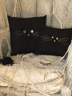 Black Cat Pillows (embellishing store-bought pillows) .... http://www.womansday.com/home/craft-ideas/halloween-crafts-black-cat-pillows-21977#