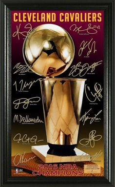 8c43f6930e2 Cleveland Cavaliers 2016 NBA Champions Signature Trophy Framed LE