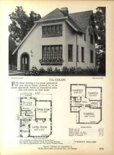 Home Builders Catalog: plans of all types of sm... Cabin House Plans, Small House Plans, House Floor Plans, Vintage House Plans, Vintage Homes, Cottage Plan, Cottage Living, Stucco Homes, Vintage Architecture